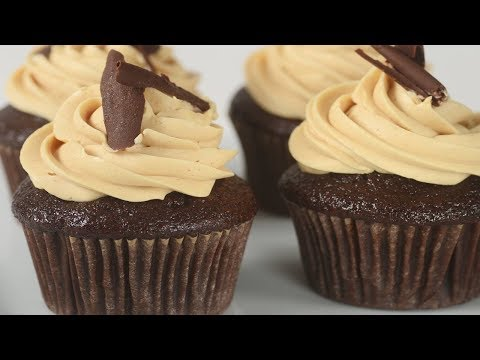 Chocolate Peanut Butter Cupcakes Recipe Demonstration - Joyofbaking.com