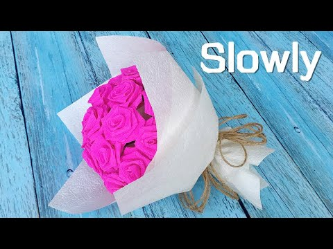 ABC TV | How To Make Paper Rose Flower Bouquet From Crepe Paper - Craft Tutorial