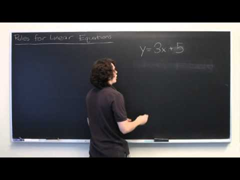 The Rules for Linear Equations