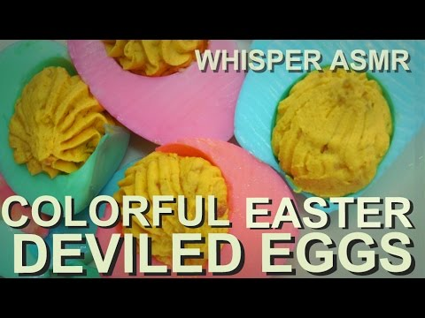 Colorful Easter Deviled eggs - Whispering ASMR cooking recipe
