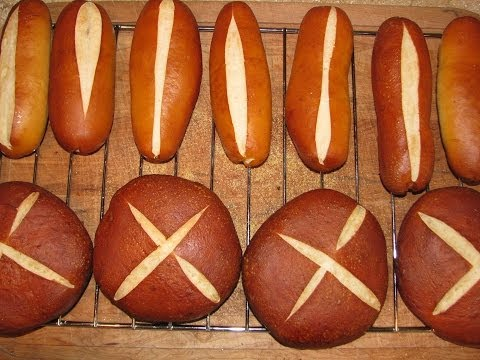 How to Make Pretzel Buns & Rolls. To Use For Hamburgers, HotDogs Step by Step Baking Directions