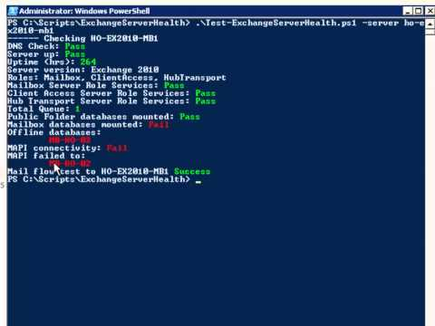 Exchange PowerShell Script: Test-ExchangeServerHealth
