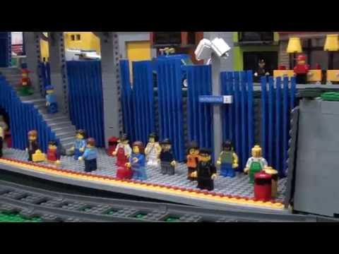 Trains at the Lego Heatherdale station
