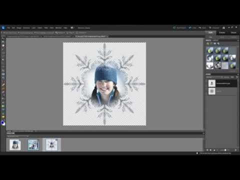 Photoshop Element 10 - How to superimpose an image onto a snowflake