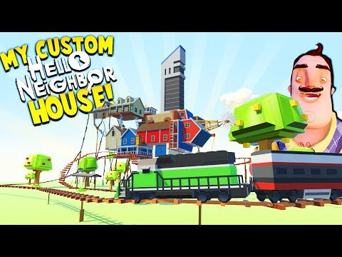 BUILDING EPIC CUSTOM HELLO NEIGHBOR HOUSE WITH FULL TRAIN! | Tiny Town VR Gameplay (HTC Vive)