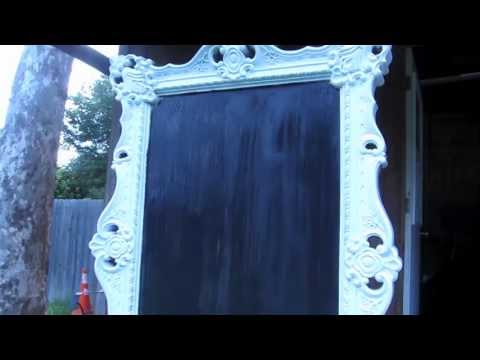 DIY- How to make a chalk board out of a framed mirror
