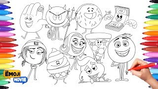 THE EMOJI MOVIE Coloring Pages for Kids   Drawing and Painting Emojis Learning Video for kids