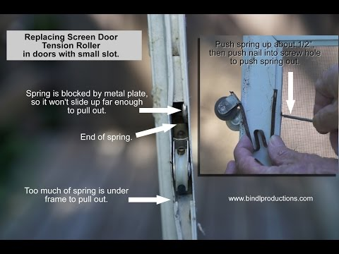 How to Replace Tension Roller on Sliding Screen Door with small slot