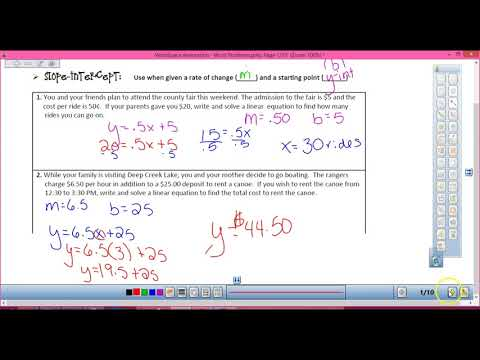Slope Intercept and Standard Form Word Problems