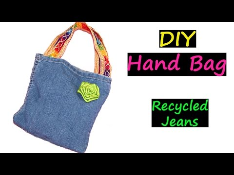 DIY Bags   Recycled Jeans   No Sew   Very EASY   Denim Handbag