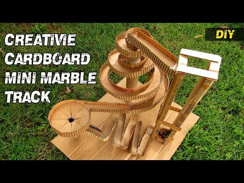 How to make a creative cardboard mini marble track - DIY tutorial
