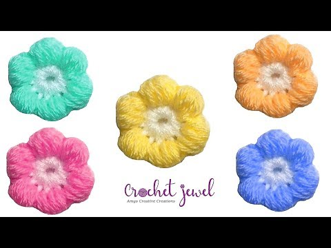Crochet Puff Stitch Flower Tutorial  - Crochet Jewel