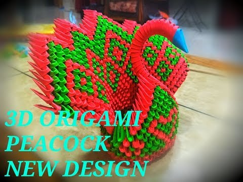 How To Make 3D Origami Peacock Love and Diamond Pattern Tutorial
