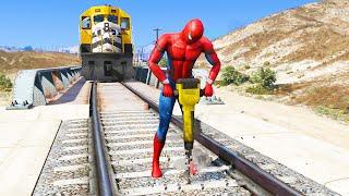 GTA 5 Spiderman VS Train ( Spider-Man vs Train )