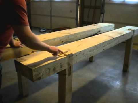 4 Building a Traditional Woodworking Bench -  Part 4 - Top Slab Mortices and Assembly
