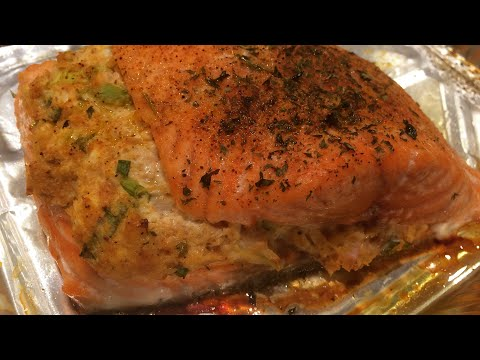 🦀Easy Creole Crab Stuffed Salmon | Cooking w/ Ashley