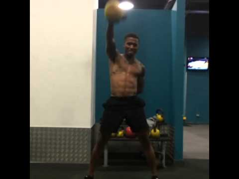 Just doing abit of 16kg kettle bells for conditioning, improving my core at the same time