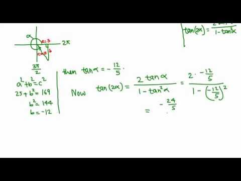 Finding exact value of tan (2A) from the value of cos A