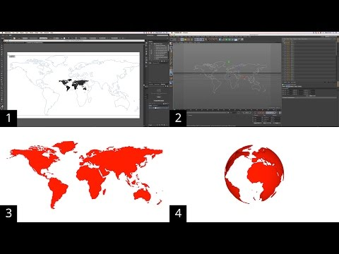 How to transform a vector world map into a sphere using the wrap deformer