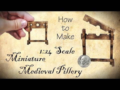 Miniature Medieval Pillory Halloween Tutorial | Dollhouse | How to Make 1:24 Scale DIY