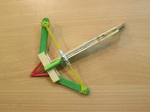 How to Make a mini Crossbow Using Pop stick (Home made Weapon ) -  Easy ballesta casera Tutorials
