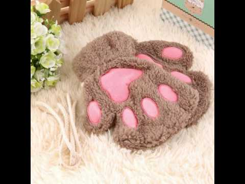 Woman Winter Fluffy Bear/Cat Plush Paw/Claw Glove-Novelty sof