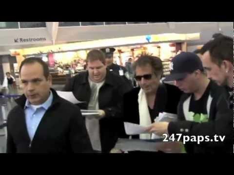Al Pacino getting mobbed at JFK Airport in New York (Fan Cam)
