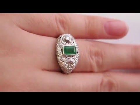 Art Deco Antique Vintage 2.72ct Green Emerald and OLD Euro Diamond Engagement Platinum Ring