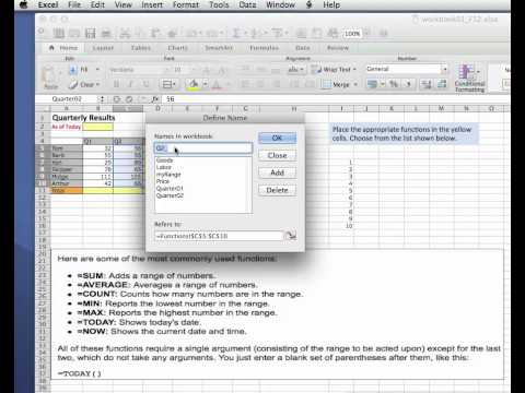 Naming Ranges - Excel 2011 for Mac