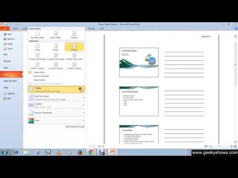 Microsoft PowerPoint 2010 Print Handouts and Notes