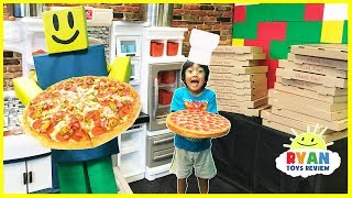 ROBLOX Work at a Pizza Place In Real Life! Family Fun Kids Pretend Playtime Ryan ToysReview