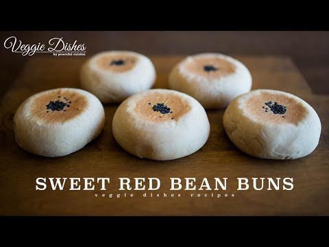 自家製あんこで作る黒ごまあんぱんの作り方:How to make Sweet Red Bean Buns | Veggie Dishes by Peaceful Cuisine