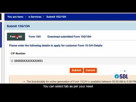 SBI INB: Generating form 15G/15H Online(Video created in August 2017)