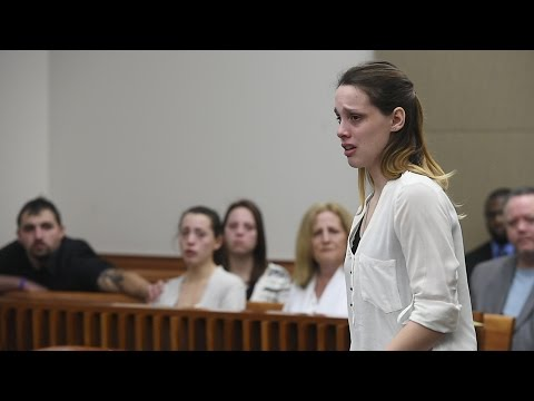 Kathryn Bailey addresses her brother James Bailey in court before he is sentenced to 32 years