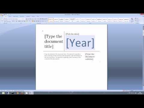 MS Word 2007 2010 Custom Page Numbering