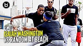 JellyFam Isaiah Washington 1 on 1 vs Random Fan at Venice Beach!!! #BILAAG Weekend