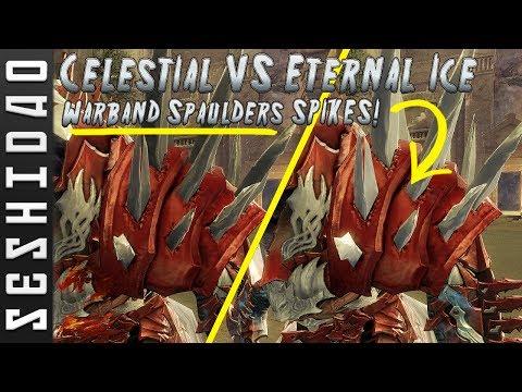Guild Wars 2: Celestial Dye VS Eternal Ice Dye on WARBAND SPAULDERS SPIKES