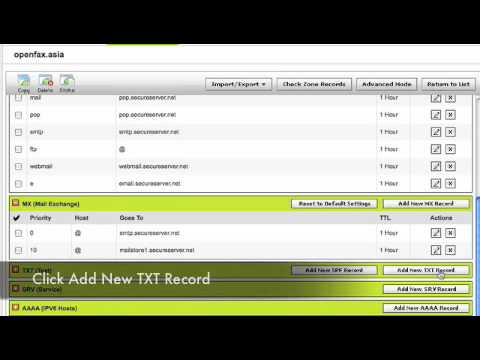 Adding a SPF Record with Godaddy for Use with Openfax EBS/Airmail