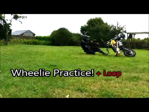 Wheelie practice on Pit Bike, trying to learn the balance point.
