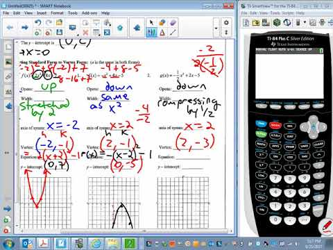 2   NOTES & HW Converting to Vertex form and using calculator