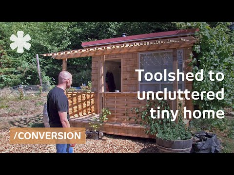 Converted toolshed as  uncluttered tiny home on Oregon farm