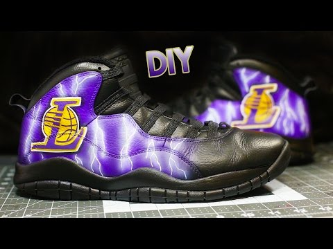 How To: Lightning Logo Your Shoes! | Jordan 10 Lakers Custom | Full Timelapse Tutorial