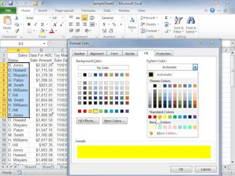 Apply a Pattern or Fill Effect to a Background Color - Excel 2010