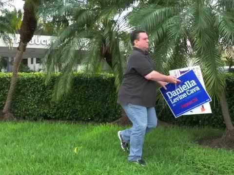 Lynda Bell Campaign Worker Stealing Opponent's Campaign Sign
