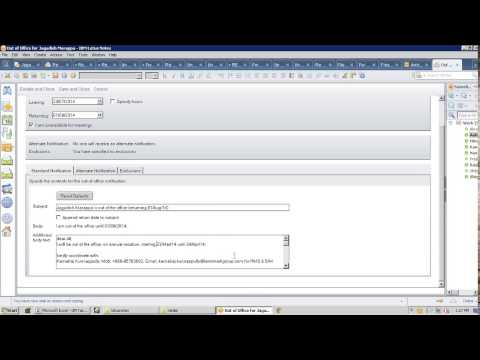 Lotusnotes Training: How To Configure Out Of Office