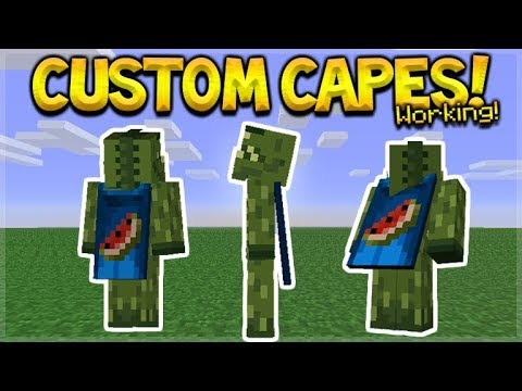 NEW HOW TO USE CUSTOM CAPES IN MCPE - Minecraft Pocket Edition Custom Capes on YOUR Skin Tutorial