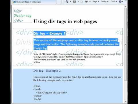 How to use the div tag - background color and image, text color and font