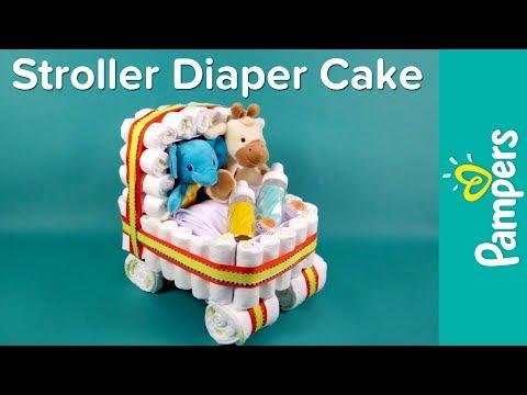Diaper Cake Ideas: Stroller Diaper Cake | Pampers Baby Shower Ideas