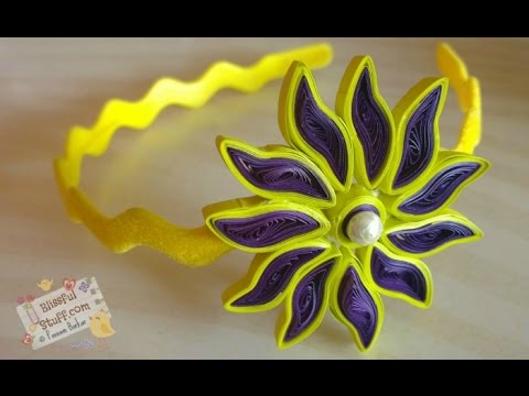 DIY - How to make paper quilled hair band, Easy paper quilling flower tutorial