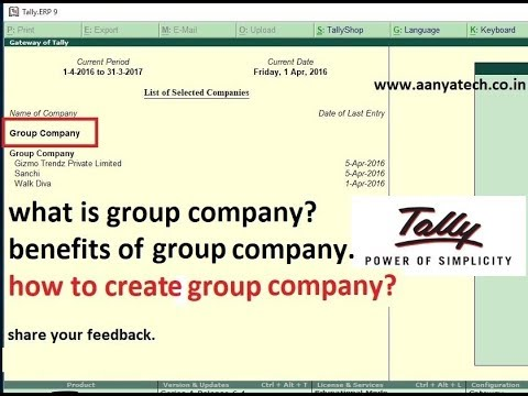 Group Company in Tally.ERP 9 - ATech (Hindi)